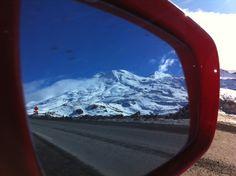 Mount Ruapehu in side mirror Mount Ruapehu, Car Mirror, Heartland, New Zealand