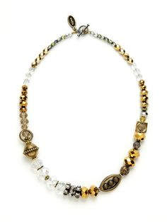 Neutral Tone Crystal Bead Necklace by Tova at Gilt