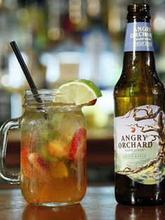 Rosy Cooler Ingredients  2 medium strawberries, quartered 2 basil leaves, julienned (cut into thin strips) 2 lime slices ½ oz simple syrup 1 oz vanilla vodka (used Stoli Vanil) 4 oz Angry Orchard Crisp Apple Cider