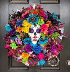 Excited to share this item from my shop: Day of the Dead Wreath Beautiful Colorful Floral Holiday Wreath Styrofoam Head Dia De Los Muertos Wreath Sugar Skull Wreath Halloween Mexican Halloween, Fall Halloween, Halloween Crafts, Halloween Trees, Day Of The Dead Diy, Day Of The Dead Party, Day Of The Dead Skull, Styrofoam Head, Adornos Halloween