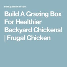 Build A Grazing Box For Healthier Backyard Chickens!   Frugal Chicken