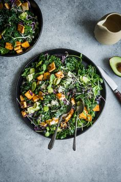 Kale & Grilled Tofu Salad with Everyday Tahini Dressing Fruit Salad Recipes, Veggie Recipes, Vegetarian Recipes, Healthy Recipes, Tahini Dressing, Savory Salads, Savoury Dishes, Sin Gluten, Eating Clean