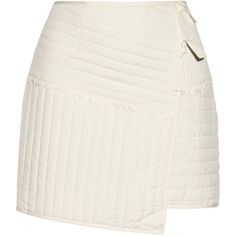 Tibi - Juna Wrap-effect Quilted Silk Mini Skirt (£140) ❤ liked on Polyvore featuring skirts, mini skirts, faldas, white, wrap skirt, pull on skirts, silk wrap skirt, silk mini skirt and white skirt