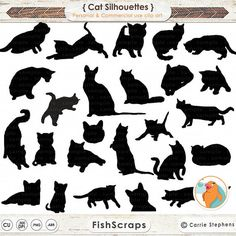 Cat Clip Art - Cat Silhouettes - Cute Kitten Photoshop Brushes & PNG ClipArt