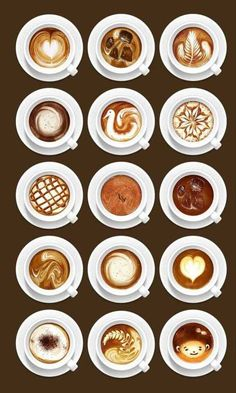 Coffee inspiration in all shapes. This is so helpful. I want to learn how to make the bottom middle one; it looks so perfect ♥