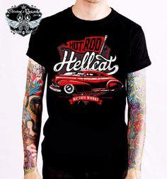Hotrod Hellcat T-Shirt Kustom Work.Tattoo,Biker,Oldschool,Rockabily,Custom Style