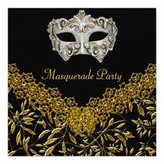 Masquerade Gold Black Hot Glamour Birthday Party Custom Invitation