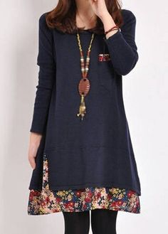 20.03$  Buy now - http://ditlq.justgood.pw/go.php?t=154743 - Floral Print Long Sleeve Navy Blue Dress 20.03$