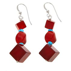 Mine Finds by Jay King Jay King Red Carnelian and Turquoise Drop Sterling Silver Earrings