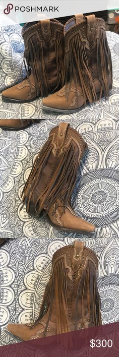 Corral fringe cowboy boots size 7M Worn only once. Fringe all around the boot. Leather. Super cute. corral Shoes Ankle Boots & Booties