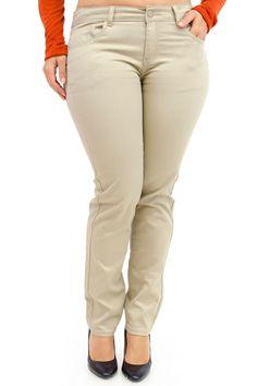 Plus Size Khaki Cotton Skinny Pants