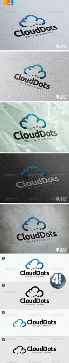 Cloud Dots #GraphicRiver This logo ideal used for any cloud based related businesses and services. Font: Ubuntu Bold, Ubuntu Italic (font.ubuntu /) Colour: CMYK Files: .ai / .eps Size: Resizeable Vector Format Kindly contact me if you need any help and I am happy to offer support. Would be highly appreciate if you may rate this item.. Created: 29August12 GraphicsFilesIncluded: PhotoshopPSD #VectorEPS #AIIllustrator Layered: Yes MinimumAdobeCSVersion: CS4 Resolution: Resizable Tags: android…