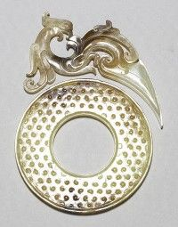 Pei Pendant with phoenix pattern and Bi Disc with grain pattern