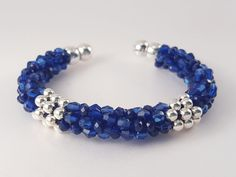 Cuff bracelet with blue crystal beads and por SelwerJewelry en Etsy