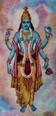 Vishnu is the Supreme God of Vaishnavism, one of the three main sects of Hinduism. Vishnu is also known as Narayana and Hari. Lord Vishnu, Deus Vishnu, Bhagavad Gita, Indian Gods, Indian Art, Vishnu Mantra, Arte Tribal, Hindu Deities, Krishna Art