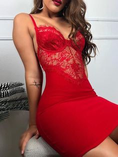 Spaghetti Strap Eyelash Lace Insert Dress Shop- Women's Best Online Shopping - Offering Huge Discounts on Dresses, Lingerie , Jumpsuits , Swimwear, Tops and More. Fashion Night, Party Fashion, Sexy Dresses, Cute Dresses, Party Dresses, Work Dresses, Midi Dresses, Summer Dresses, Evening Dresses