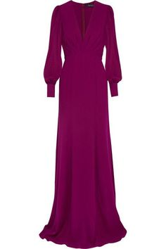Violet silk-georgette  Concealed hook and zip fastening at back  100% silk  Dry clean  Designer color: Bright Cyclamen