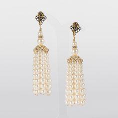 Gold And Pearl Tassel Earrings