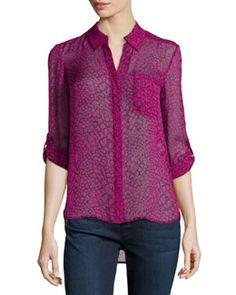T9KTD Diane von Furstenberg Lorelei Two Print Silk Blouse, Dotted Snake Pink
