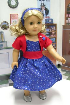 Star Spangled Dress for American Girl doll by cupcakecutiepie, $37.00