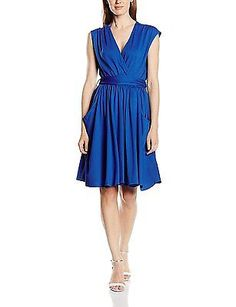 14, Blue (Cobalt), HotSquash Women's Capped Sleeve Fit N Flare Dress NEW