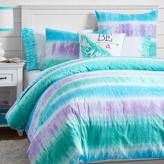 Reef Tie-Dye Duvet Cover + Sham, Cool | PBteen
