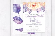 Floral Engagement Party Invitation Purple Engagement Party Invitation Flower Engagement Party Invitation Printable or Printed