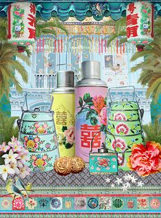 """Artwork by Louise Hill Design. """"My love of design and creativity comes from growing up in a family of talented designers and being surrounded by beautiful textiles and creative conceptual artwork all my life. Chinese Design, Chinese Art, Chinese Culture, Chinese Style, Tiffin Carrier, Kitsch, Hong Kong Art, Old Shanghai, Singapore Art"""
