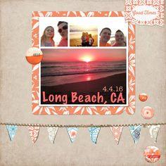 long beach california digital scrapbook layout ocean scrap book page coast waves water sand sun sunset fun vacation outside adventure