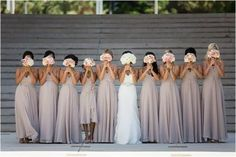 Brides want to find themselves having the perfect wedding day, however for this they require the ideal bridal wear, with the bridesmaid's dresses actually complimenting the brides dress. Here are a few suggestions on wedding dresses. Perfect Wedding, Dream Wedding, Wedding Bridesmaids, Wedding Dresses, Bridesmaid Color, Taupe Bridesmaid Dresses, Grey Dresses, Bridesmaid Bouquets, Dresses 2016