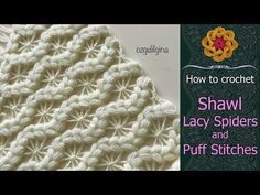 Spider Knitting Pattern Pattern For A Shawl With Lacy Spiders And Puff Stitch Free Crochet Tutorial Ellej. Crochet Chart, Crochet Stitches, Free Crochet, Free Knitting, Knitting Patterns, Crochet Patterns, Crochet Shawls And Wraps, Crochet Scarves, Step By Step Crochet