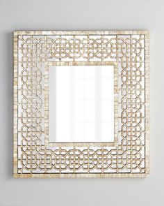 Diedra Capiz Fretwork Mirror from Horchow. Shop more products from Horchow on Wanelo. Entry Mirror, Mirror Tiles, Floor Mirrors, Wall Mirrors, Mirror Mirror, Beaded Mirror, Metal Hangers, Front Rooms, Dream Decor