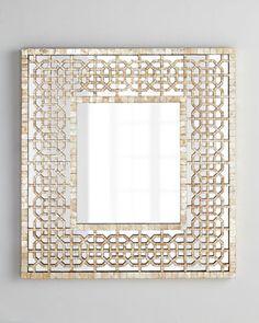 "Diedra Capiz Fretwork Mirror at Horchow. 35.25""W x 3.5""D x 38.5""T. 395"
