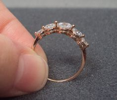 Gold Plated 5 Stone CZ Ring Size 7 by GrandmasTrove on Etsy