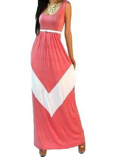 Maxi Dress - Coral / Chevron Print / Empire Waist / Belted Waistline / Sleeveless