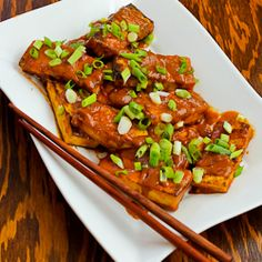 Recipe for Spicy Vegan Peanut Butter Tofu with Sriracha [from KalynsKitchen.com]