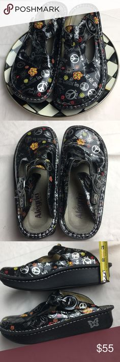 """ALEGRIA by PG Lite, Mules, Patent Leather Clog My favorites!!! So comfortable and in excellent condition.  Funky """"peace & love"""" printed patent leather.  My goal was so purge my closet this year,  all though these are hard to part with. Alegria Shoes Mules & Clogs"""