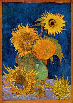 Mystery of Van Gogh's Sunflowers Unearthed (series of 4 paintings) * The Sunflowers are Mine: The Story of Van Gogh's Masterpiece, discovered a rare image of the work Six Sunflowers in Japan,. This 1888 Van Gogh painting was destroyed in an American bombing on Ashiya during World War II. The owner, Koyata Yamamoto had to leave it because the frame was so heavy. It was destroyed as the atomic bomb was dropped on Hiroshima. #vangogh