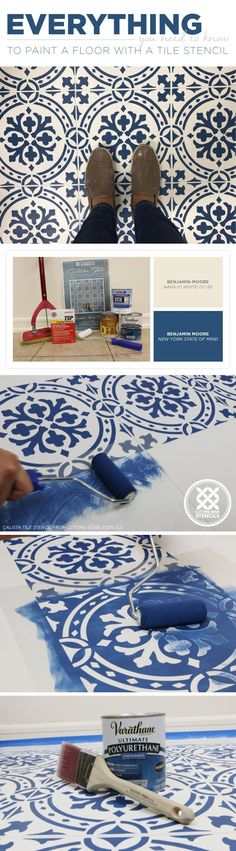 Cutting Edge Stencils shares everything you need to know to paint and stencil a floor using the Calista Tile Stencil from Cutting Edge Stencils.     http://www.cuttingedgestencils.com/calista-tile-stencil-backsplash-cement-tiles-stencils.html