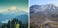 Before it erupted on May 18, 1980, Mount St. Helens was a perfectly shaped stratovolcano. It was formed by many eruptions over 40,000 years. The 1980 eruption tore 1,300 feet off the mountain's top! It left the crater shaped like a horseshoe.   Famous Volcanoes   Kids Discover
