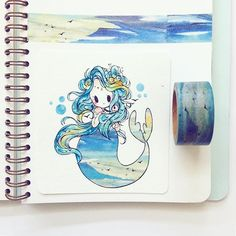 another #washitape mermaid for #mermay ^u^