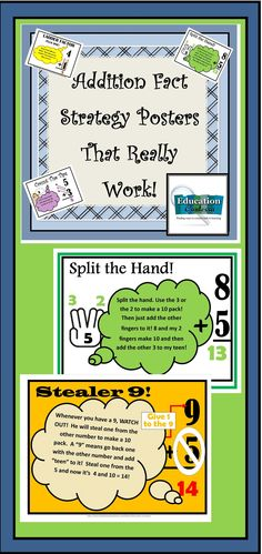 """Awesome posters to use in morning meeting, math circles, and on your wall.  These """"tricks"""" will help your children to learn the strategies to adding quickly!"""