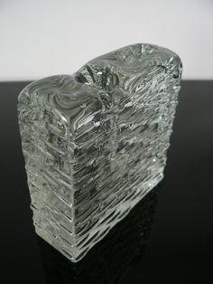 German Mid Century modern glass block vase by secreteyesonly, $29.00