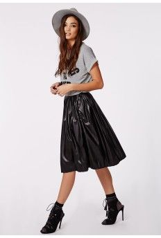 Marian Faux Leather Pleated Midi Skirt Black