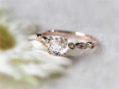 Elegant Diamond Morganite Engagement Ring 14K Rose by InOurStar