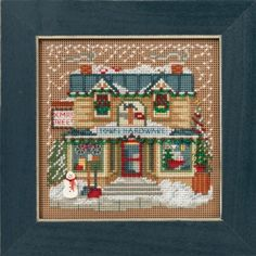 """MH141631 - Town Hardware (2016)  Christmas Village Series - Mill Hill - Buttons and Bead Kits - Winter Series Kit Includes: Beads,ceramic button, perforated paper, floss, needles, chart and instructions.  Mill Hill frame GBFRM2 sold separately Size: 5.25"""" X 5.25"""""""