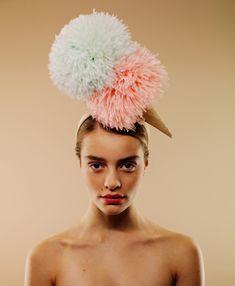Fun project of thread/feather fascinator creation by Awon Golding Millinery Colori Gelato Ice cream hat Cream Hats, Ascot Hats, Derby Hats, Headgear, Headdress, Headbands, Pom Pom Headband, Wide Headband, Creations