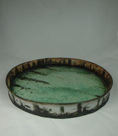 Green Platter - 12 inches wide - 1 by olialamar Ceramic Tableware, Ceramic Pottery, Pottery Art, Pottery Ideas, Kintsugi, Pottery Sculpture, Glazed Ceramic, Teller, Ceramic Artists