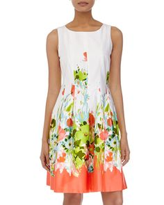 Floral-Print Sleeveless Fit-and-Flare Dress, White/Neon