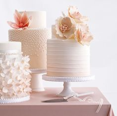Blushing bride wedding cake trio